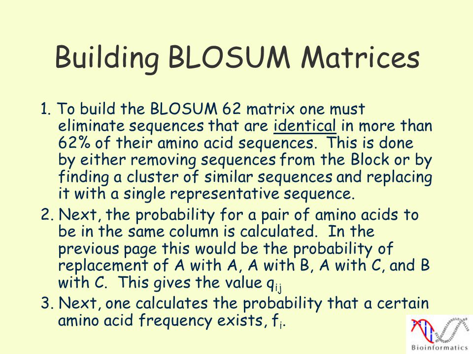 Building BLOSUM Matrices