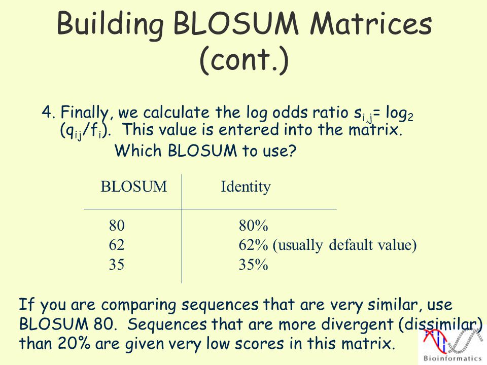 Building BLOSUM Matrices (cont.)