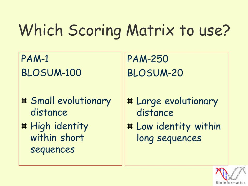 Which Scoring Matrix to use