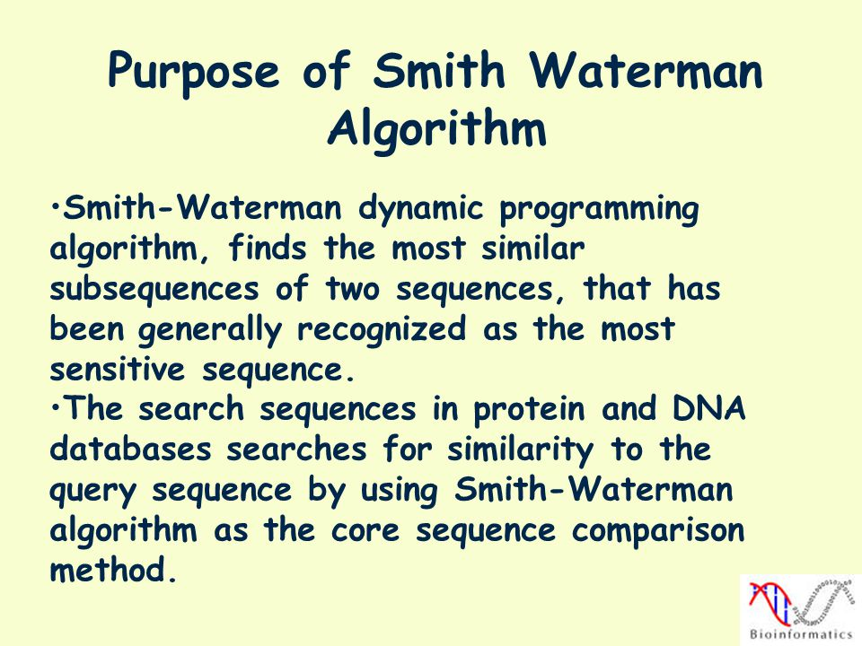 Purpose of Smith Waterman Algorithm
