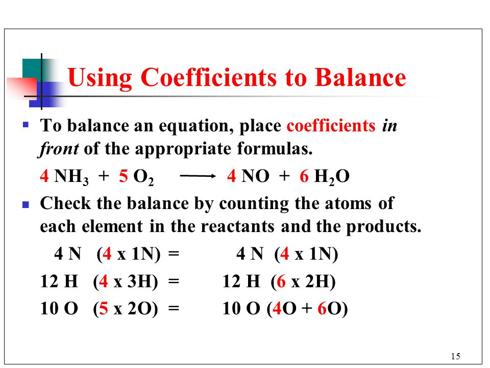 Using Coefficients to Balance