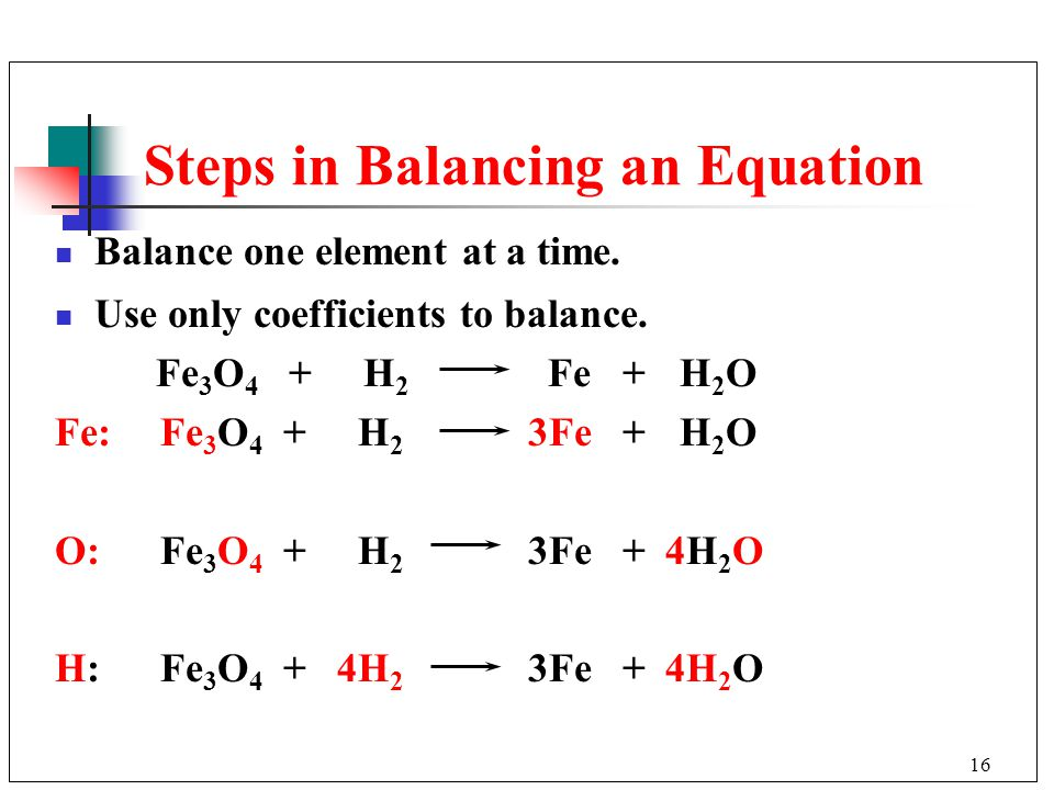 Steps in Balancing an Equation
