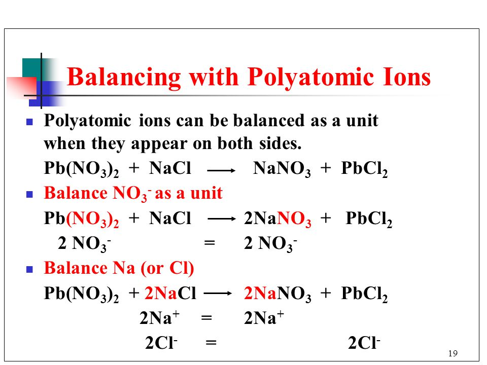 Balancing with Polyatomic Ions