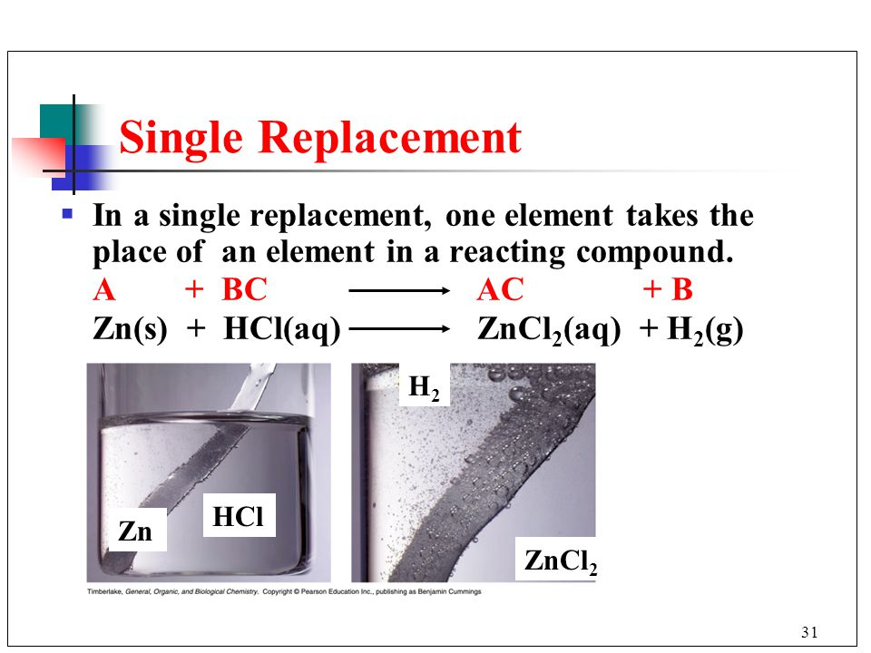 Single Replacement In a single replacement, one element takes the place of an element in a reacting compound.
