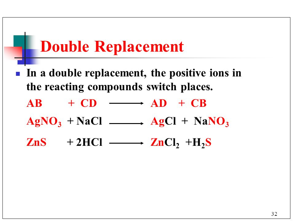 Double Replacement In a double replacement, the positive ions in the reacting compounds switch places.