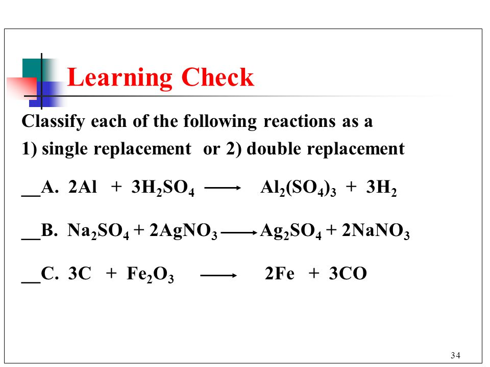 Learning Check Classify each of the following reactions as a