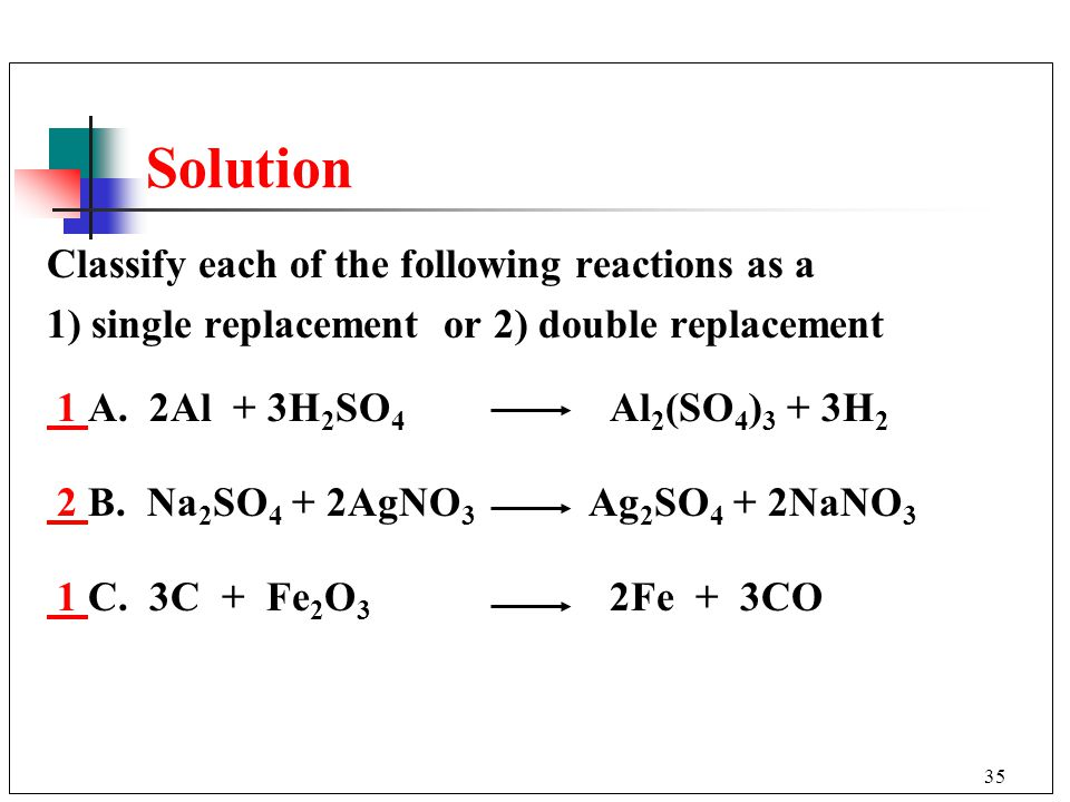 Solution Classify each of the following reactions as a