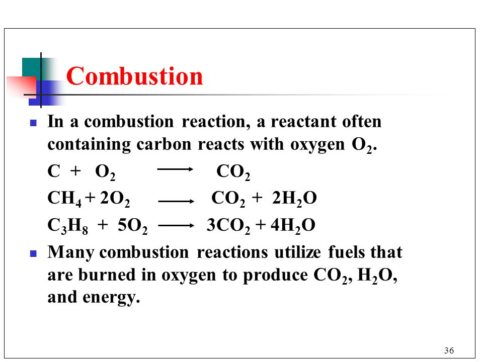 Combustion In a combustion reaction, a reactant often containing carbon reacts with oxygen O2. C + O2 CO2.