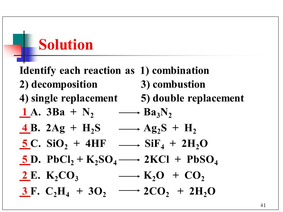 Solution Identify each reaction as 1) combination