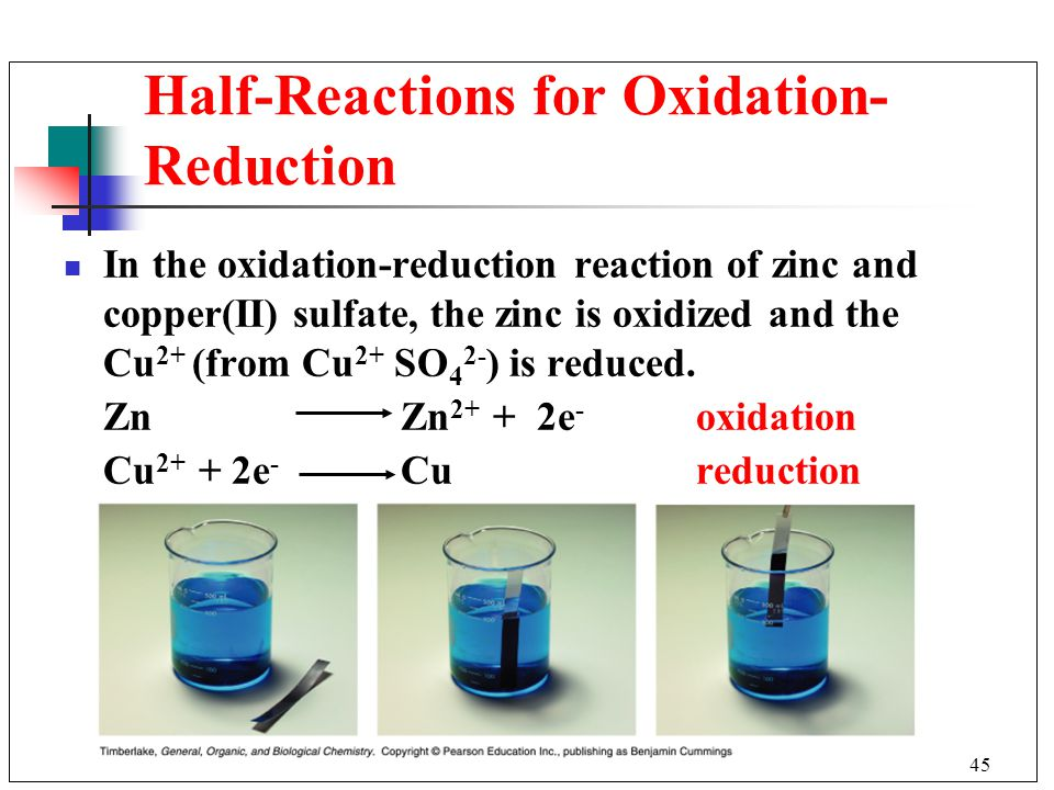 Half-Reactions for Oxidation-Reduction