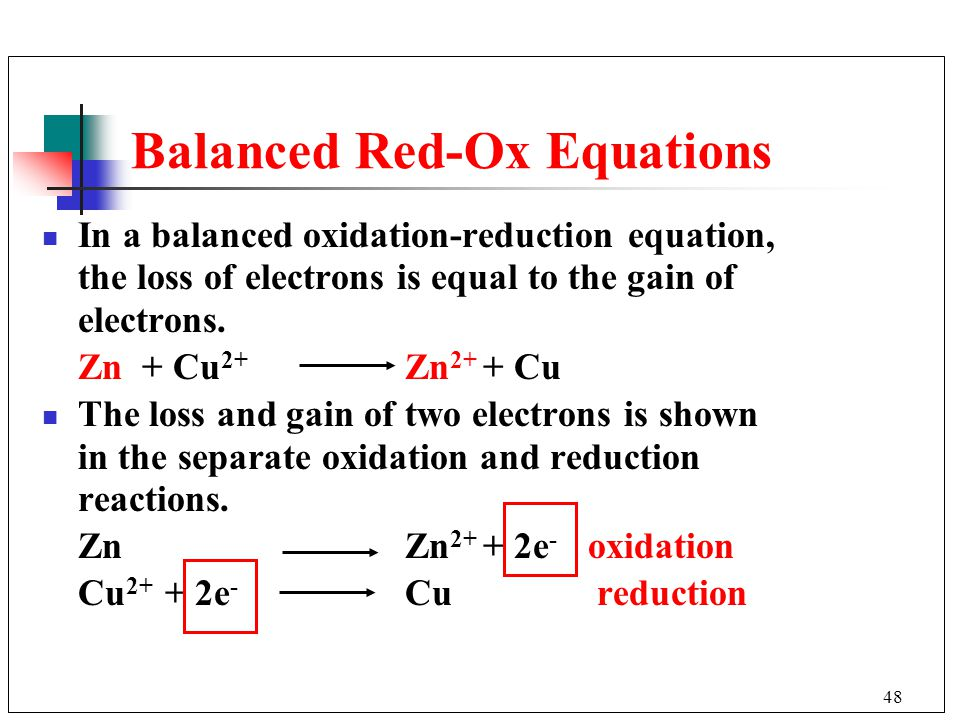 Balanced Red-Ox Equations