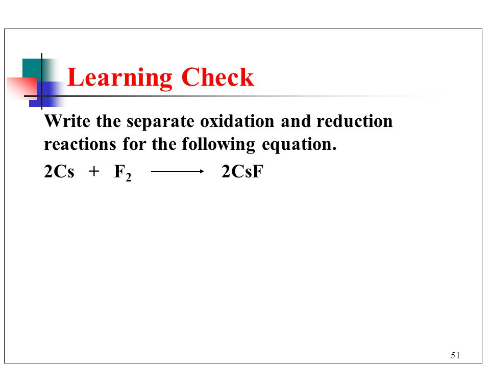 Learning Check Write the separate oxidation and reduction reactions for the following equation.