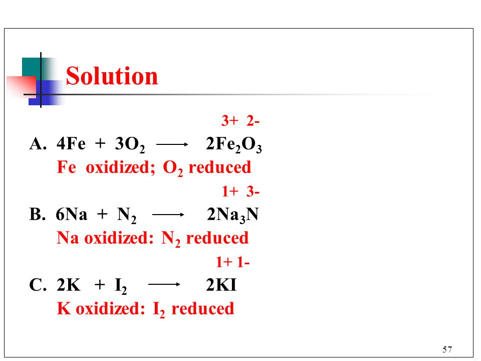 Solution 3+ 2- A. 4Fe + 3O2 2Fe2O3 Fe oxidized; O2 reduced 1+ 3-