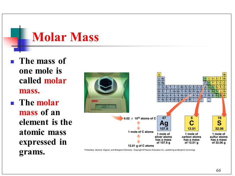 Molar Mass The mass of one mole is called molar mass.