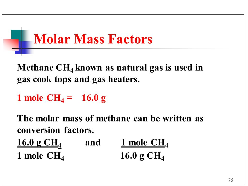 Molar Mass Factors Methane CH4 known as natural gas is used in gas cook tops and gas heaters. 1 mole CH4 = 16.0 g.