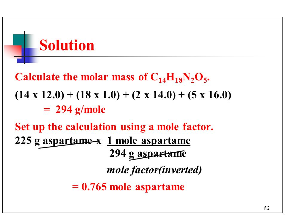 Solution Calculate the molar mass of C14H18N2O5.