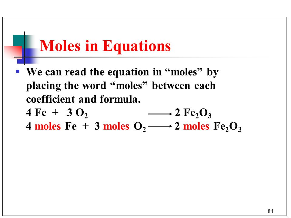 Moles in Equations