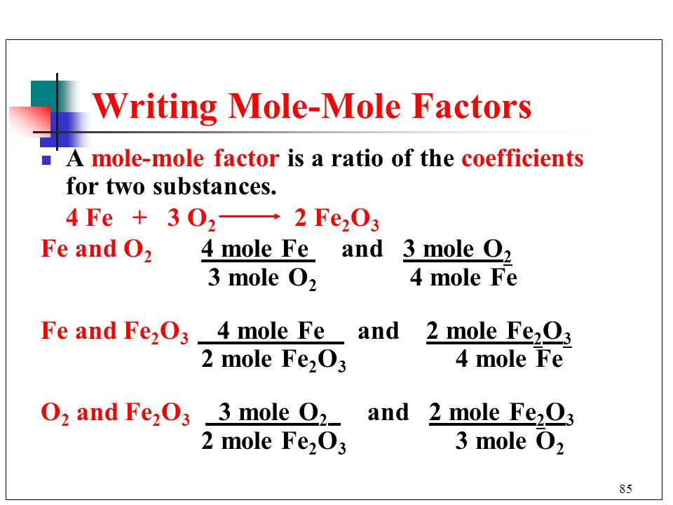 Writing Mole-Mole Factors