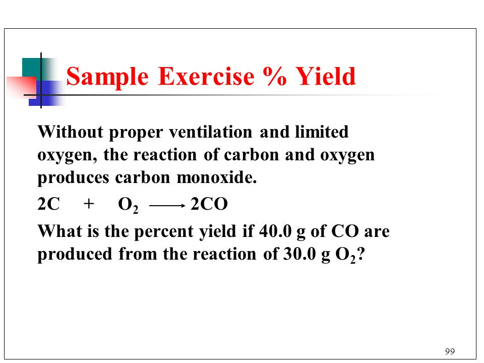 Sample Exercise % Yield