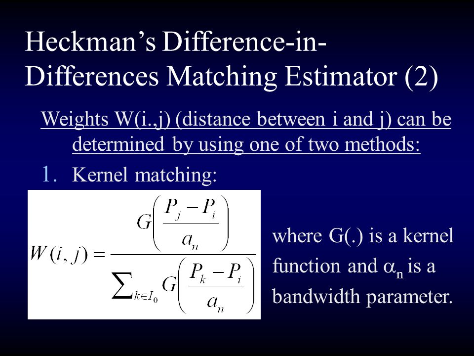 Heckman's Difference-in-Differences Matching Estimator (2)