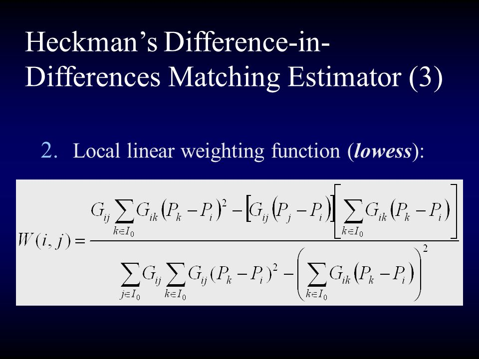 Heckman's Difference-in-Differences Matching Estimator (3)