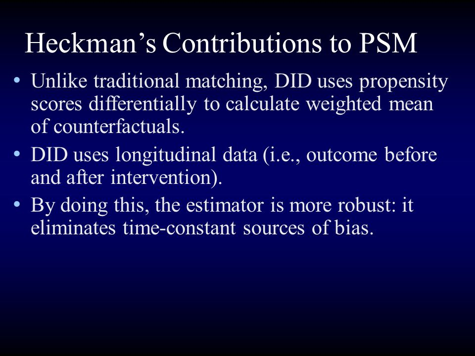 Heckman's Contributions to PSM