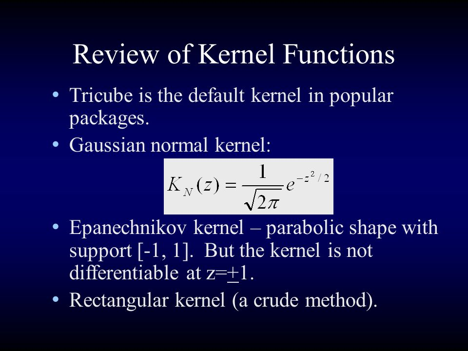 Review of Kernel Functions