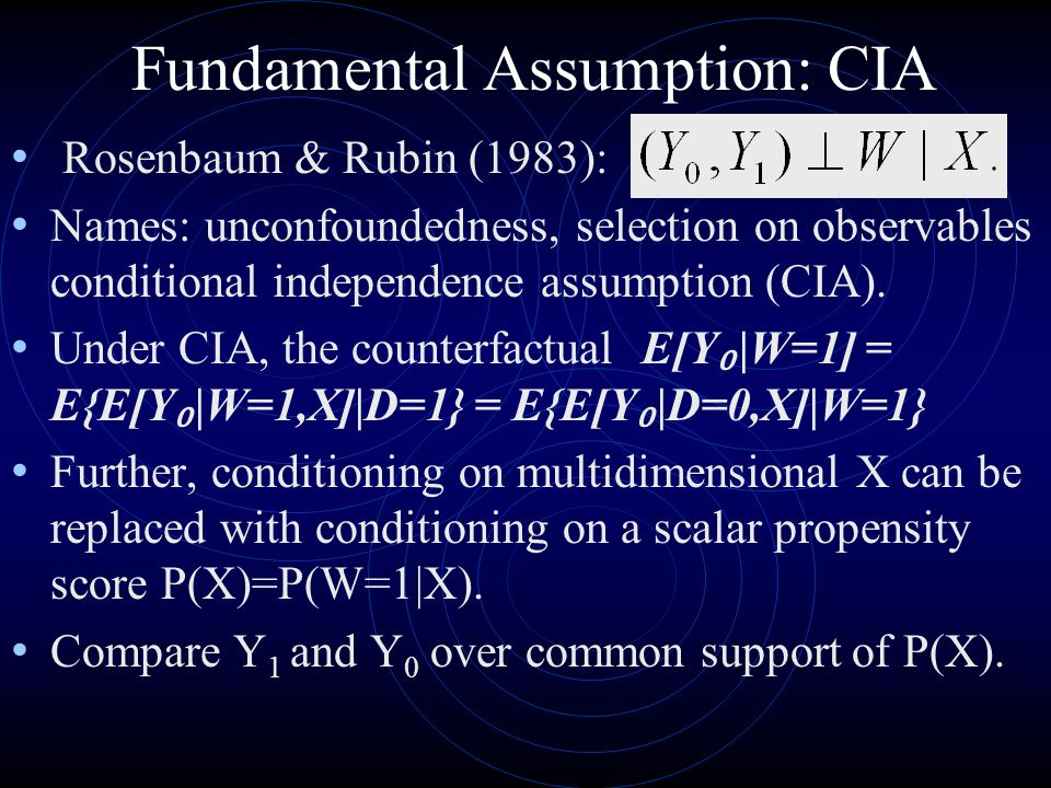 Fundamental Assumption: CIA
