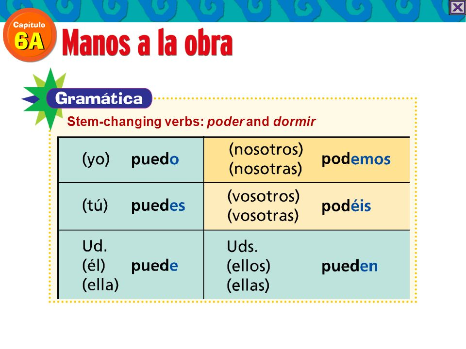 Stem-changing verbs: poder and dormir