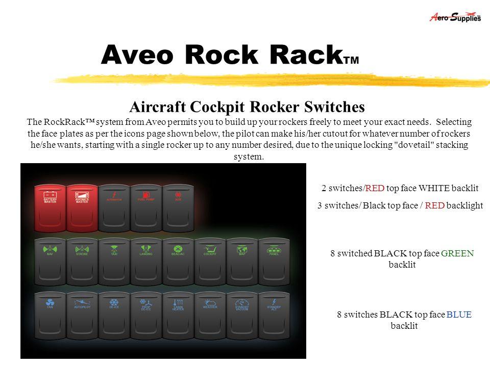 Aveo Rock RackTM Aircraft Cockpit Rocker Switches