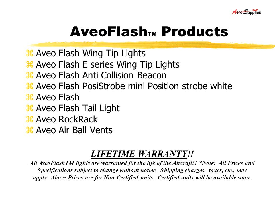 AveoFlashTM Products Aveo Flash Wing Tip Lights