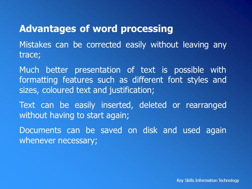 Advantages of word processing