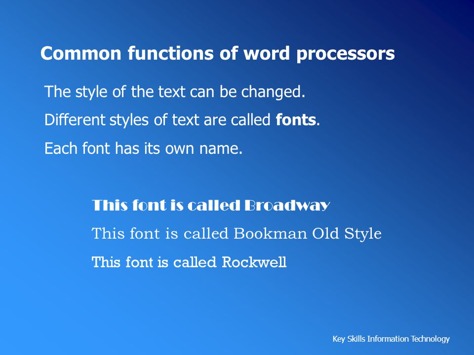 Common functions of word processors