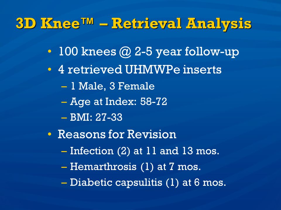 3D Knee™ – Retrieval Analysis