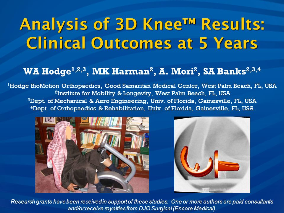 Analysis of 3D Knee™ Results: Clinical Outcomes at 5 Years
