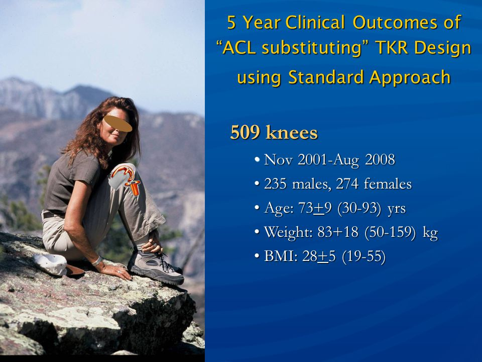 Melinda K. Harman, PhD 5 Year Clinical Outcomes of ACL substituting TKR Design using Standard Approach.
