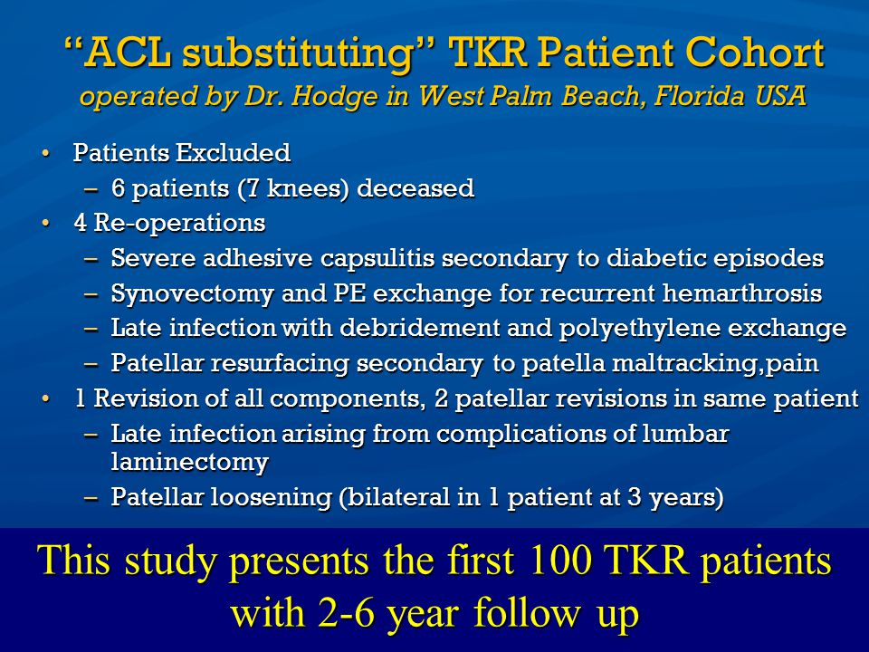 This study presents the first 100 TKR patients with 2-6 year follow up