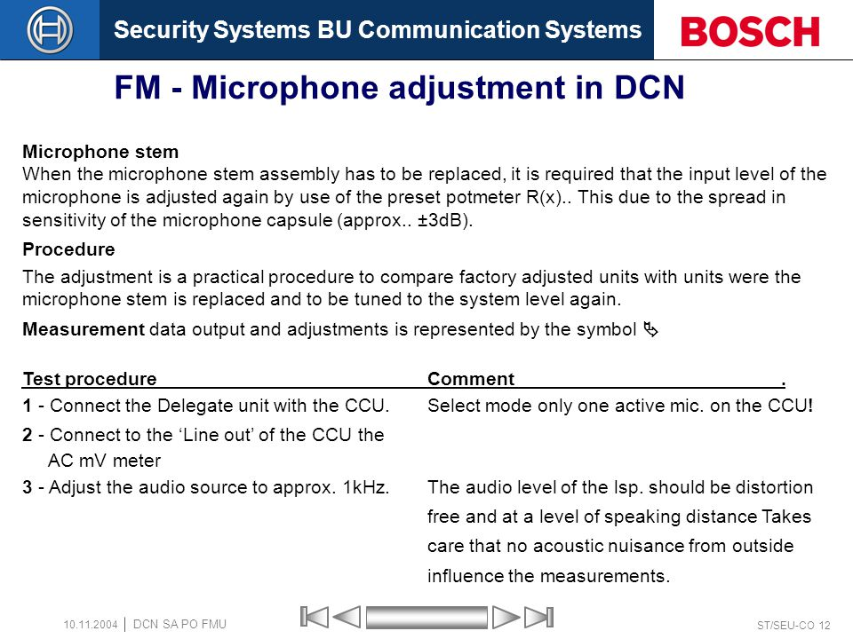 FM - Microphone adjustment in DCN