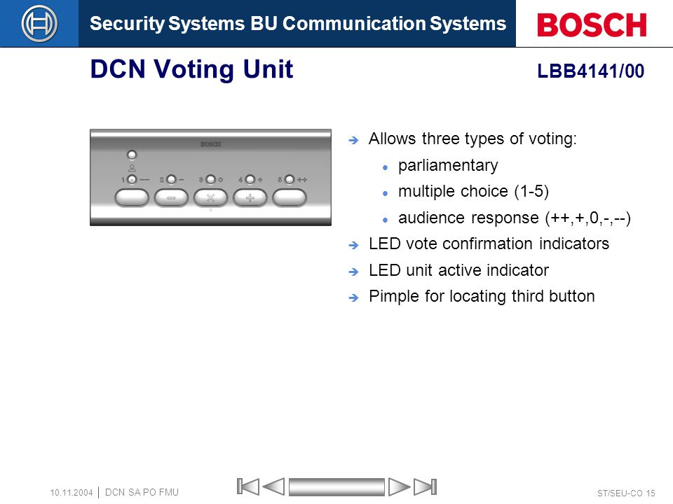 DCN Voting Unit LBB4141/00 Allows three types of voting: parliamentary