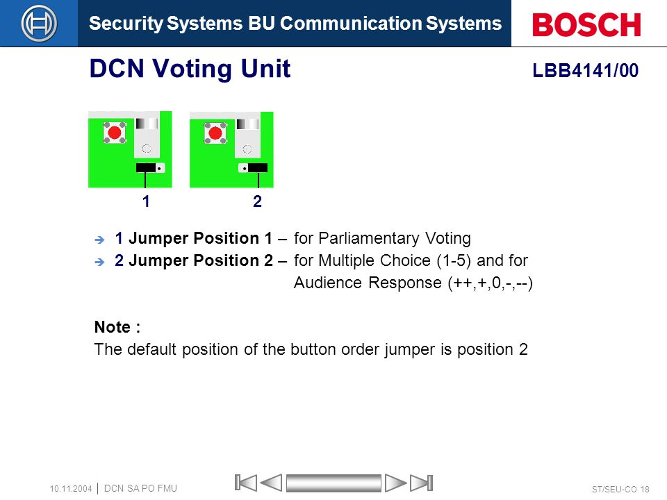 DCN Voting Unit LBB4141/00 1. 2. 1 Jumper Position 1 – for Parliamentary Voting.