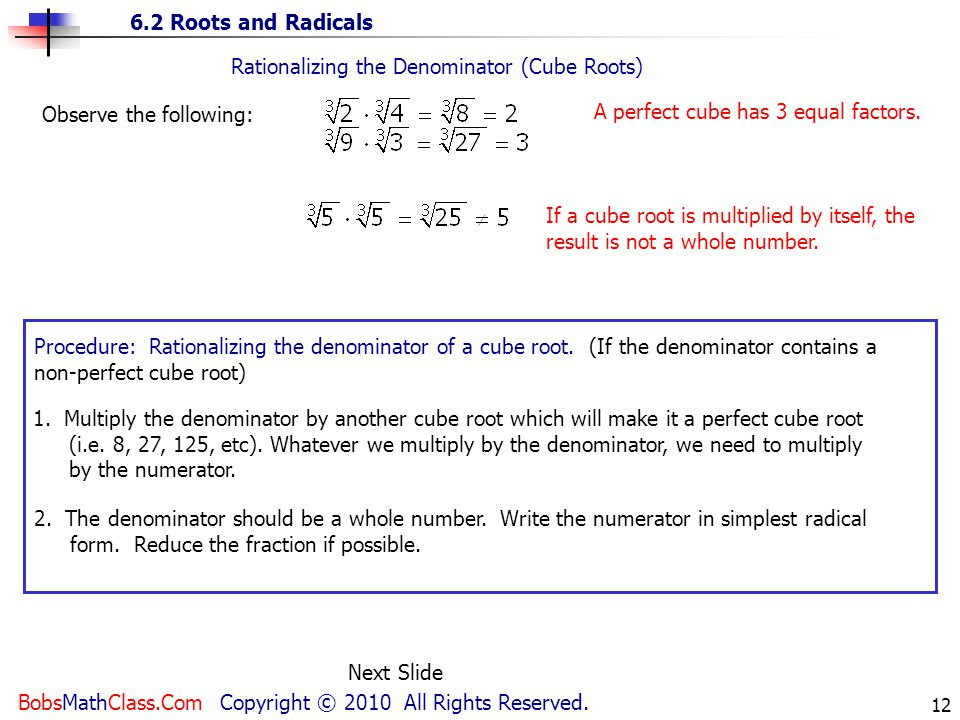 Rationalizing the Denominator (Cube Roots)