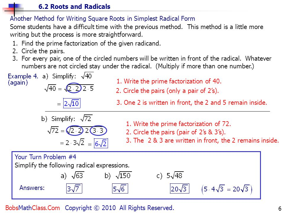 Another Method for Writing Square Roots in Simplest Radical Form