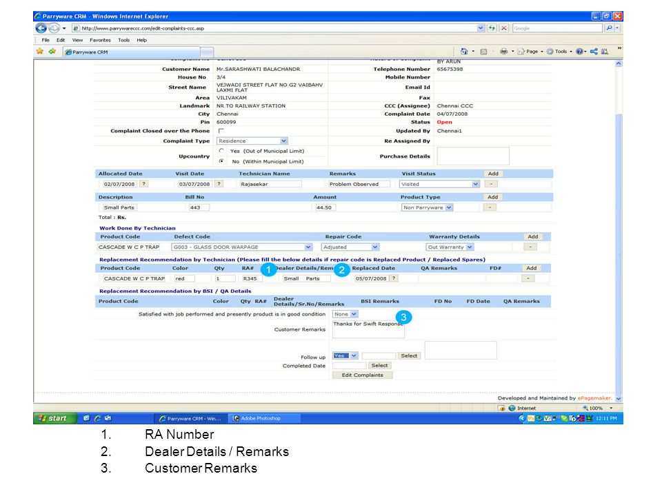 RA Number Dealer Details / Remarks Customer Remarks