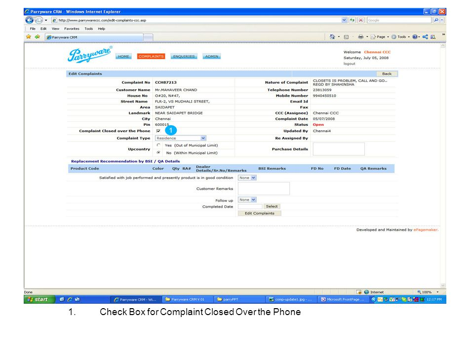 Check Box for Complaint Closed Over the Phone
