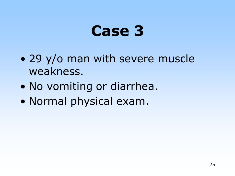 Case 3 29 y/o man with severe muscle weakness.