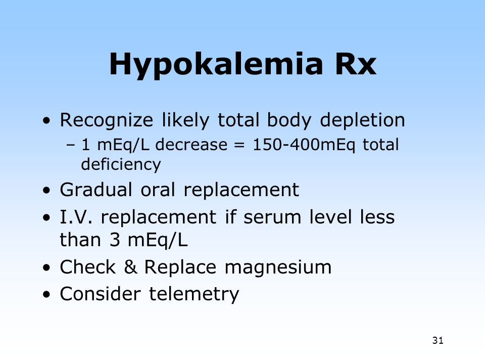 Hypokalemia Rx Recognize likely total body depletion