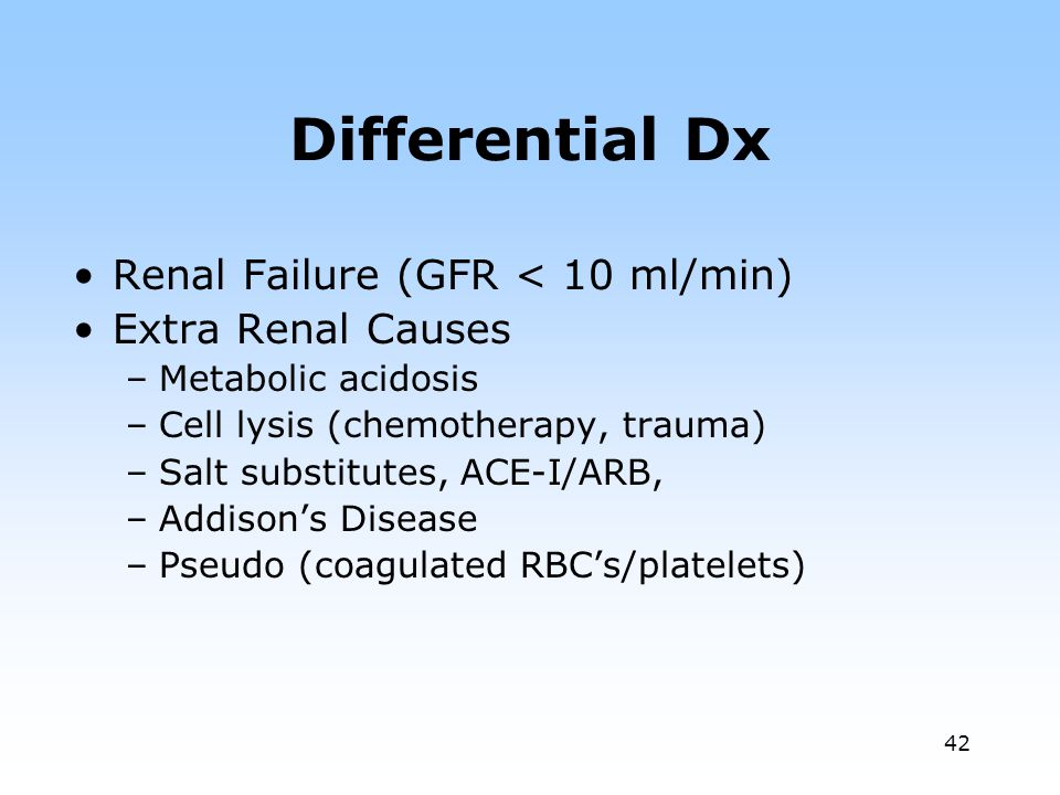 Differential Dx Renal Failure (GFR < 10 ml/min) Extra Renal Causes
