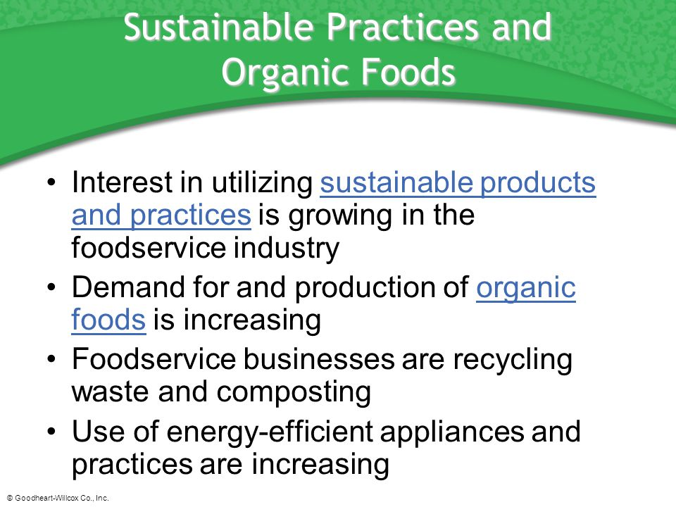 Sustainable Practices and Organic Foods
