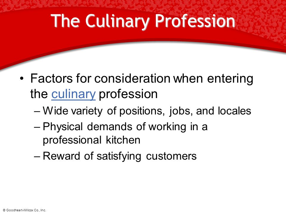 The Culinary Profession