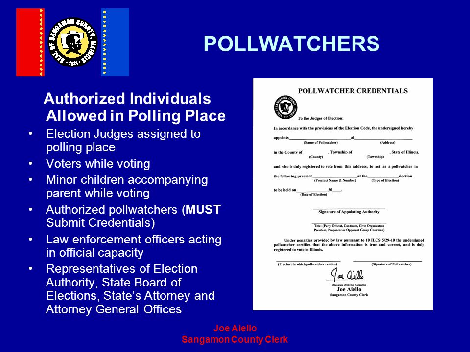 Authorized Individuals Allowed in Polling Place